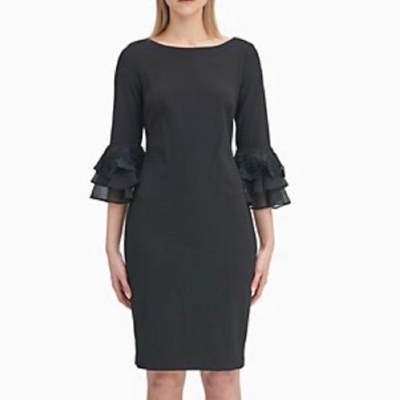 Calvin Klein Dresses & Skirts - NWT Calvin Klein Black Dress Chiffon Bell Sleeves